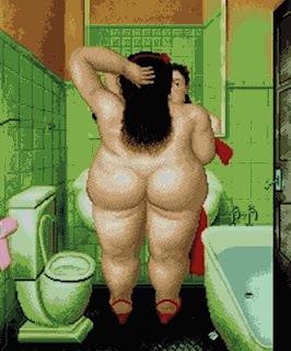 Grafico de punto de cruz del cuadro de Botero El baño mujer