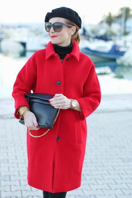 red coat, Kiomi coat, three quarter sleeve coat, Fashion and Cookies, fashion blogger