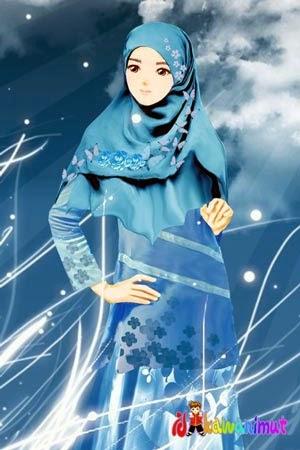 Gambar Kartun Wanita Muslimah Anggun
