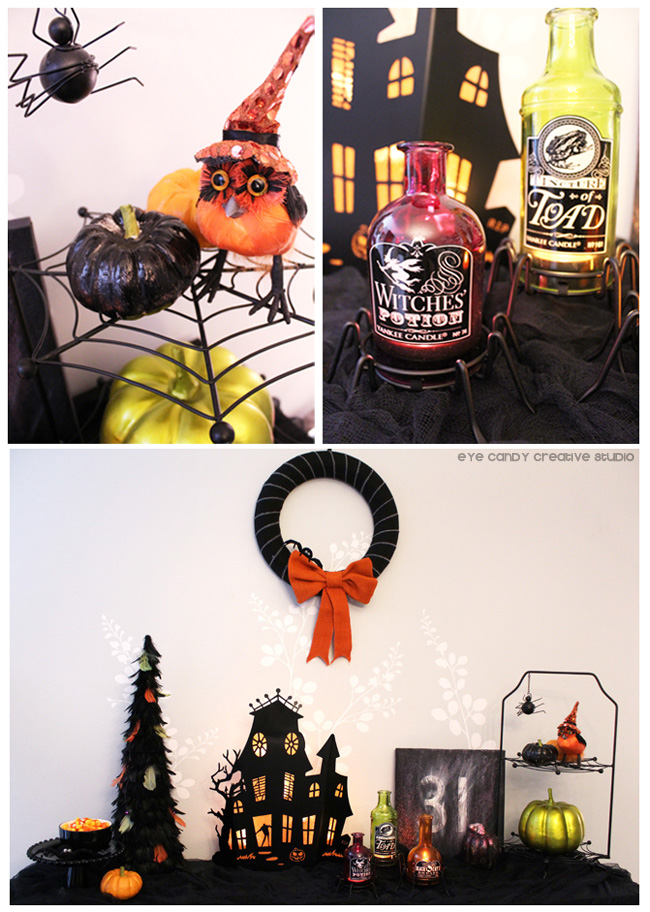 spider, halloween decor ideas, tealights, halloween tablescape, wreath