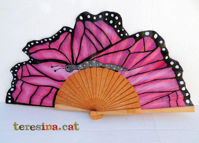 Abanico mariposa pintado a mano