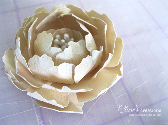 Paper flower tutorial large rose with stamen clares creations a little while ago a lady contacted me about a flower i made for a project this one i think and she wanted to know how i made it mightylinksfo