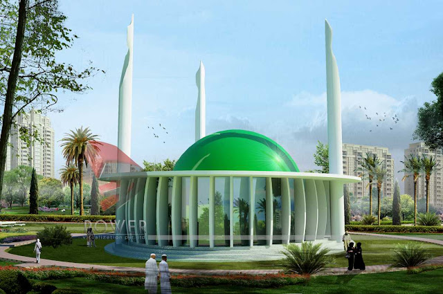 3d Architectural Exterior View Of Mosque,3d architectural rendering