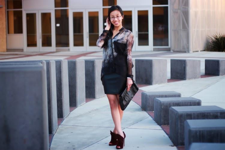 helmut lang chiffon blouse leather mini skirt