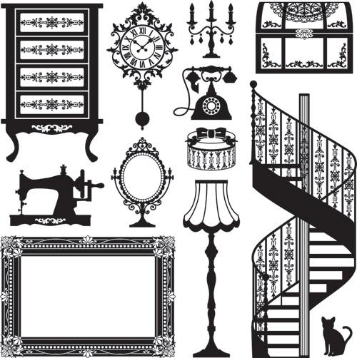 アンティーク家具のシルエット Antique Furniture Vector