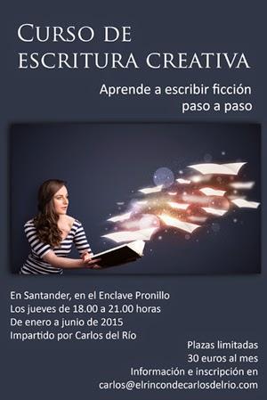 Cartel de Curso de escritura creativa, de Carlos del Río