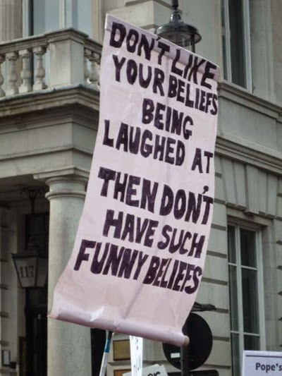 Funny Religious Beliefs Poster - Don't like your beliefs being laughed at? Then don't have such funny beliefs.