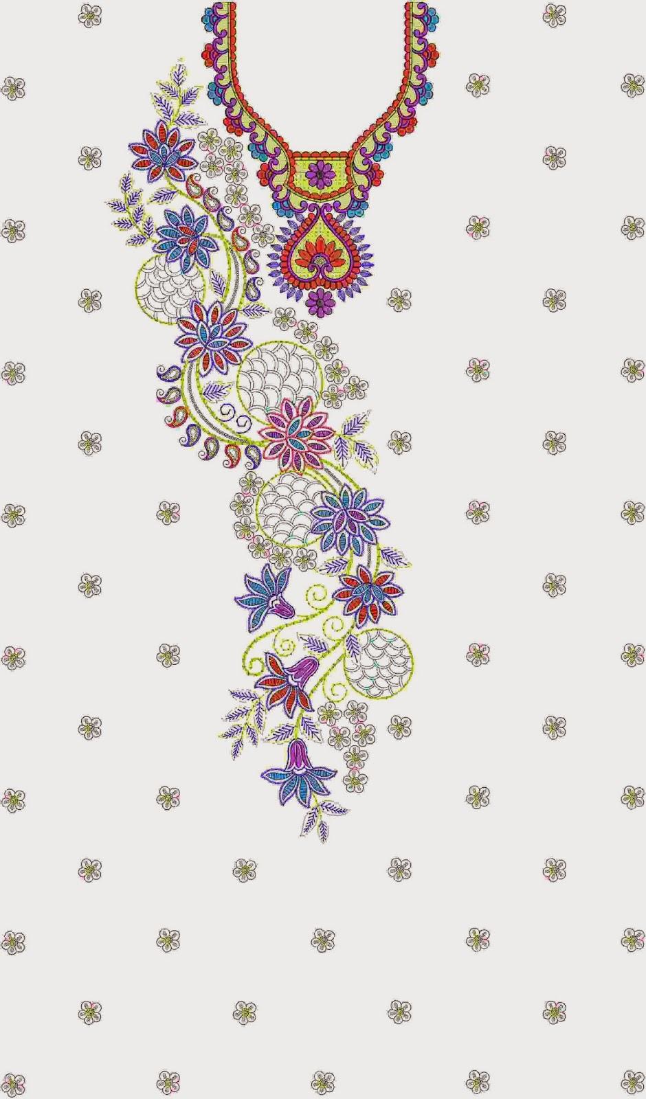 Embroidery neck designs for kurtis makaroka