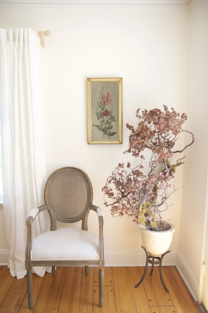Living Room in the Nest; Restoration Hardware Chair, Oil Painting, Manzanita tree; Nora's Nest