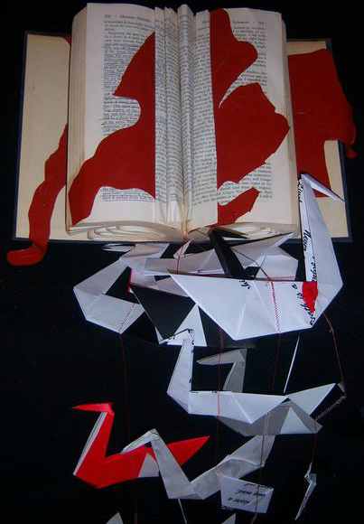 Altered book art, Lauren Moss, Black White and Red All Over