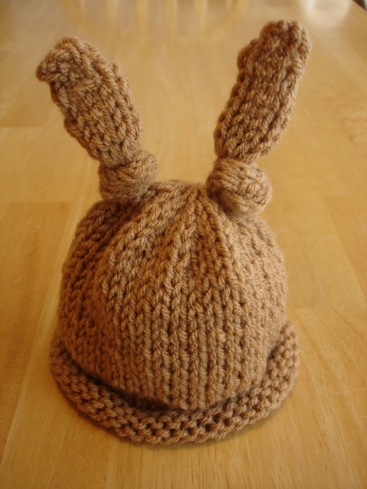 Knitting Pattern Hat For Newborn : Fiber Flux: Free Knitting Pattern...Baby Bunny Newborn or Preemie Hat!