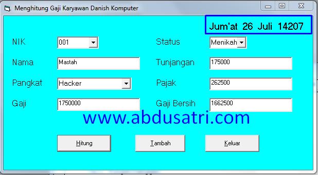 Hari dan tanggal format bahasa indonesia di VB 6.0