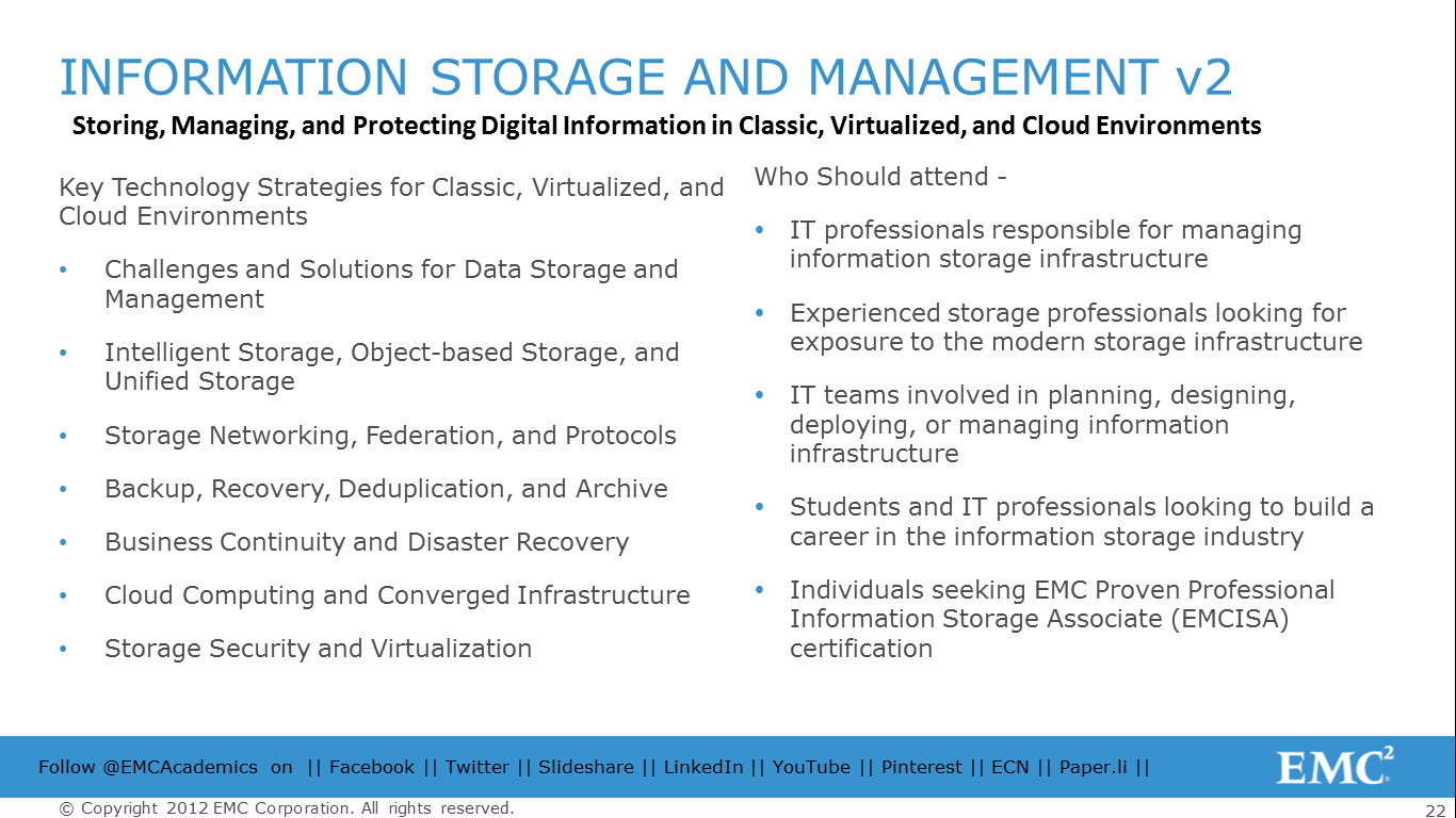 The Contents Are Covered Across 5 Sections Spanning Storage System Networking Technologies Backup Archive And Replication Cloud Computing