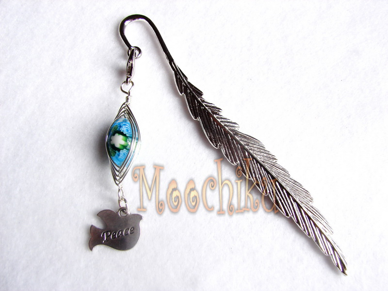 cm metal bookmark a blue and green millefiori bead and a peace dove