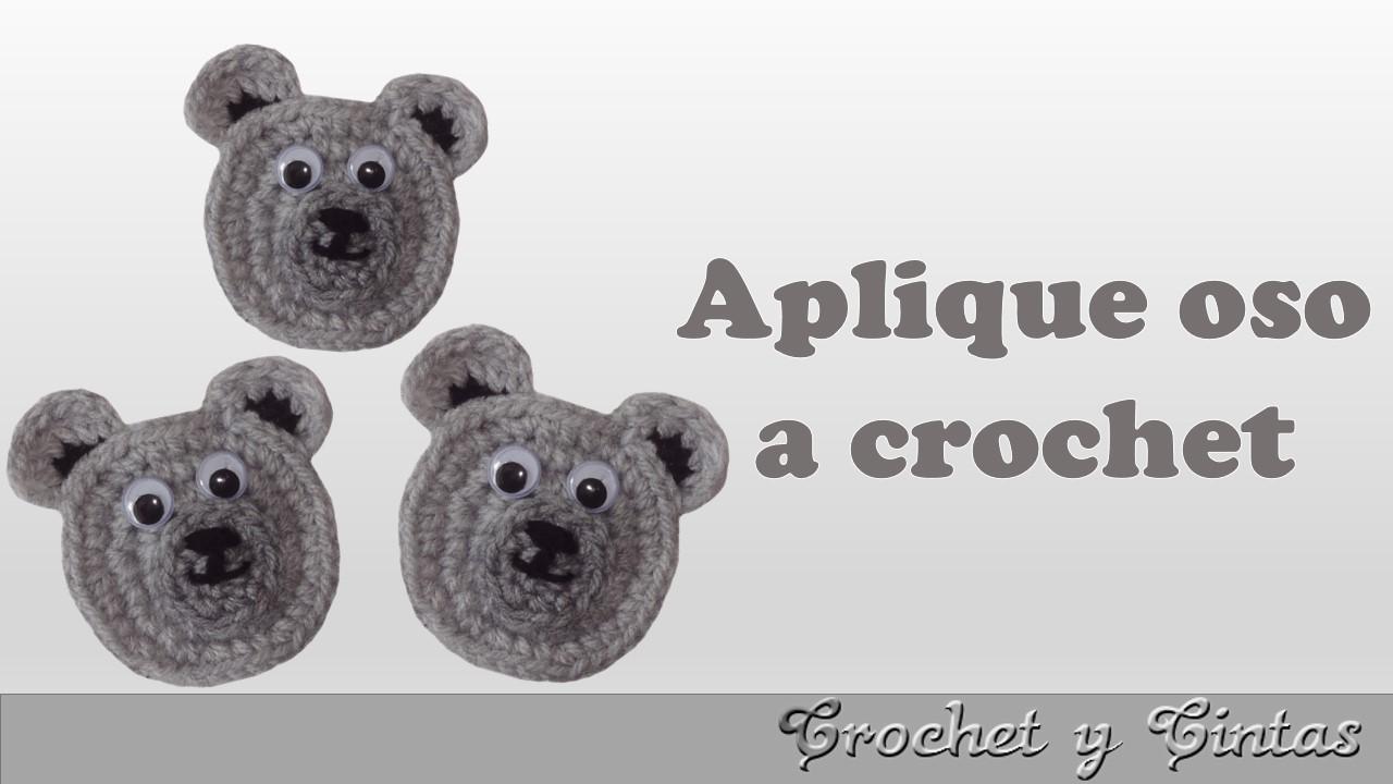 Aplique carita de oso tejido a crochet ~ Crochet y Cintas