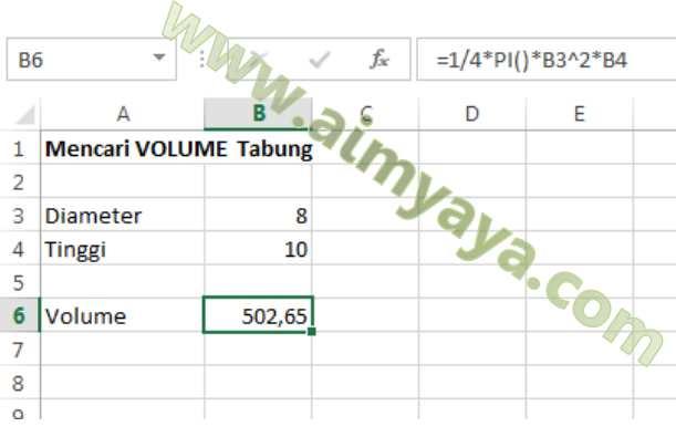 Gambar: menghitung volume Tabung (Silinder) di Microsoft Excel