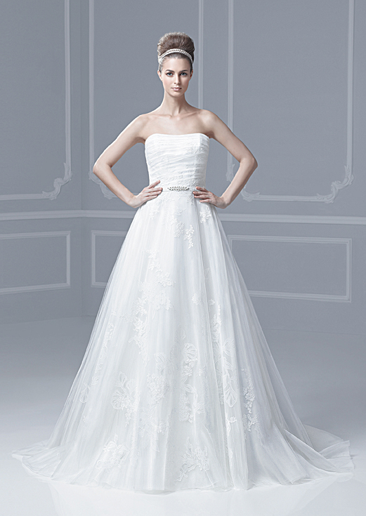 Lace Tulle Strapless A-line Wedding Dress
