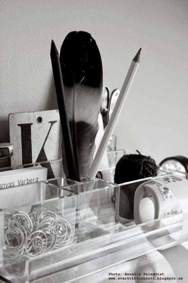 akrylplast, acrylic, pennställ, hårplast, plexiglas, till skrivbordet, plexi, plast, gem, svart och vitt