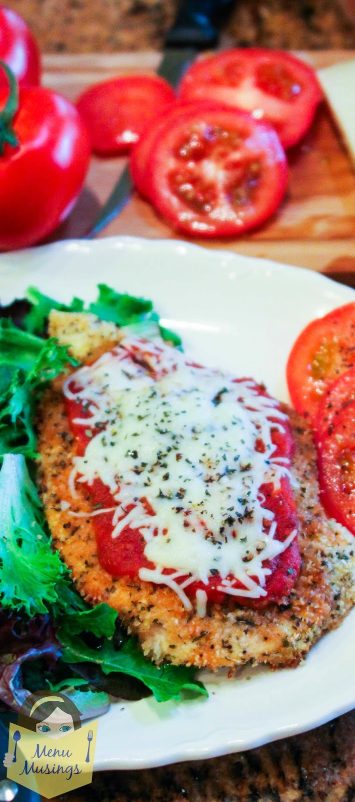 Baked Chicken Parmesan for Pinterest @ menumusings.com
