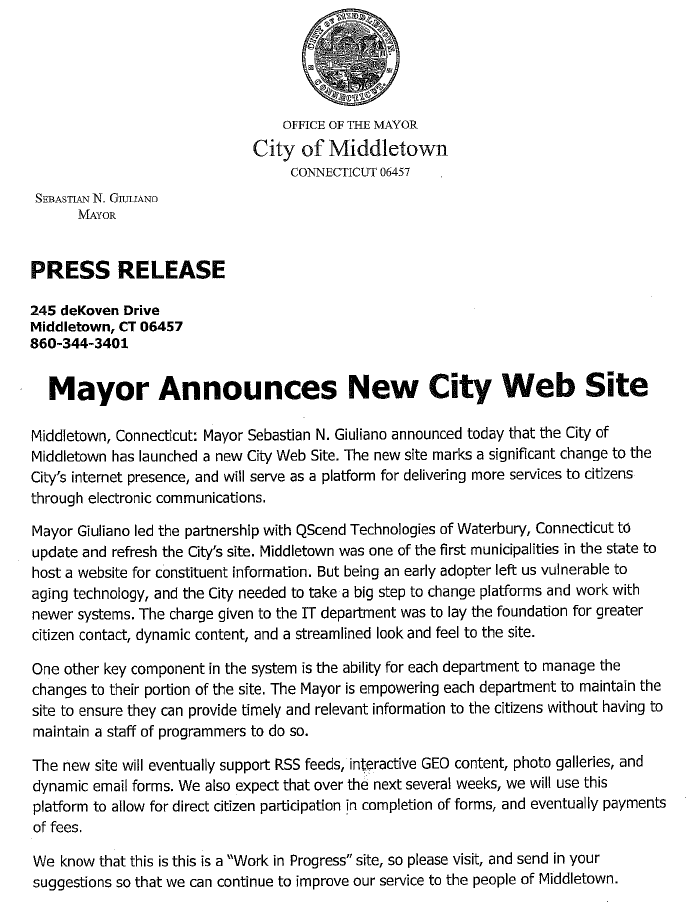 middletowneye: Mayor Unveils New Format For City Web Site
