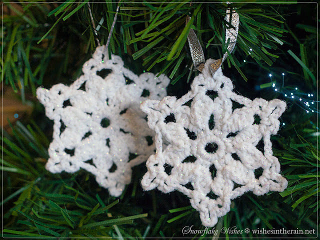 two crochet snowflake Christmas ornaments - www.wishesintherain.net