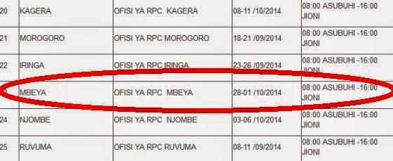 Taarifa ya Usaili ya Jeshi la Polisi Tanzania kwa wakazi wa Mbeya