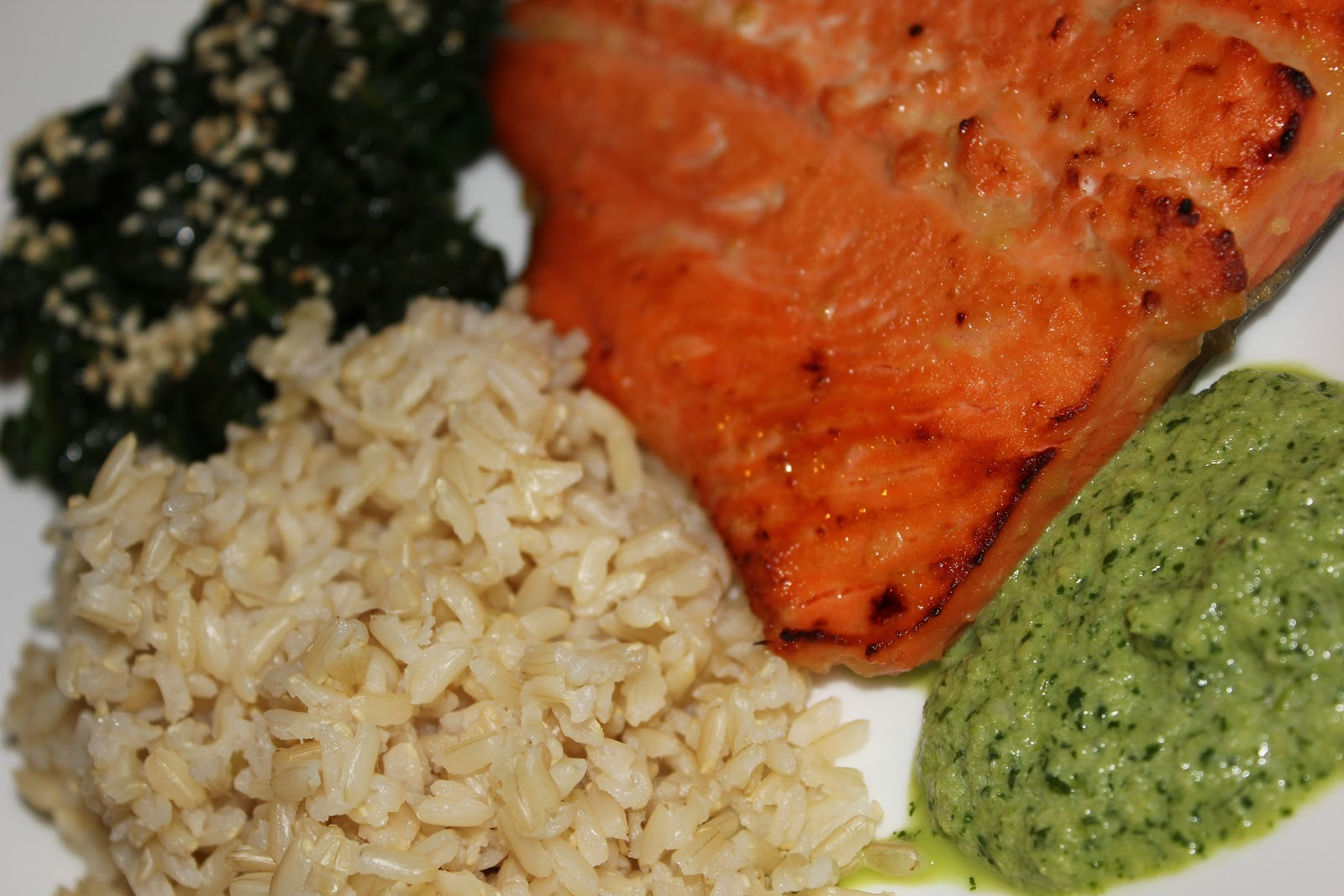 Cookie Therapy: Miso Salmon with Cilantro Sauce, Sesame Spinach ...