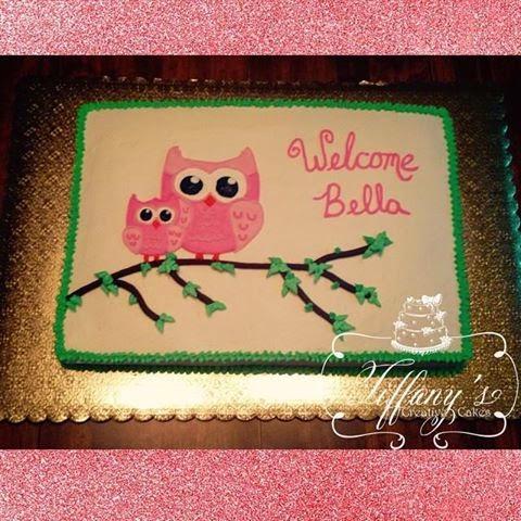 Baby Girl Owl Baby Shower Cake   All Buttercream 1/2 Sheet Cake