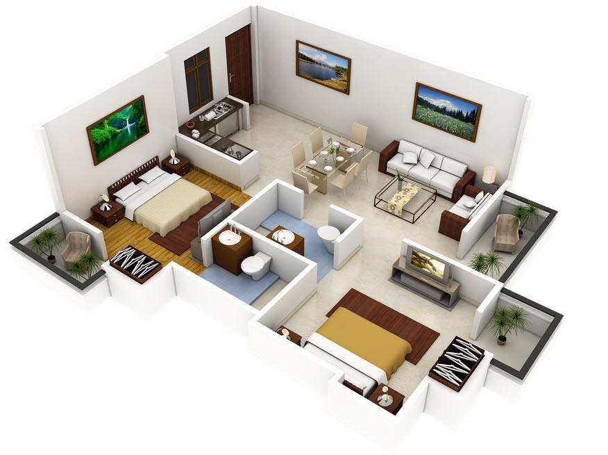 Plano 3d de casa con dos dormitorios construye hogar - Construye hogar ...