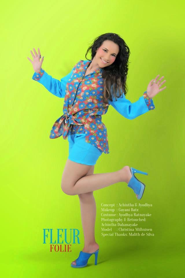 Christina Milhuisen blue shorts thighs
