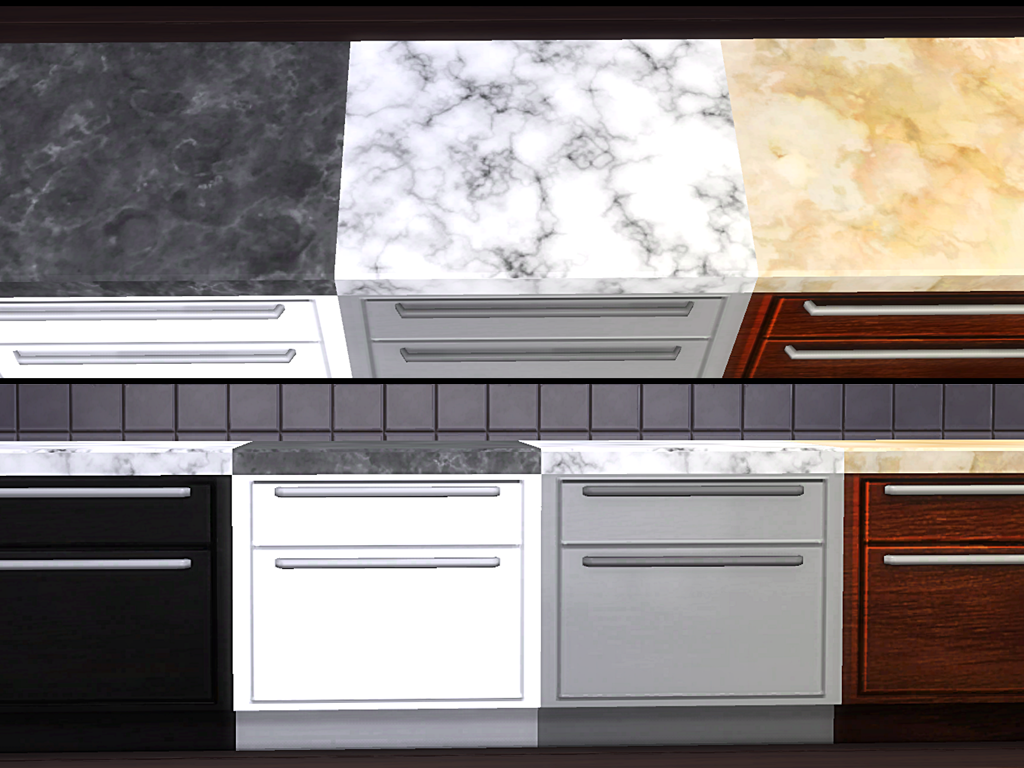 My sims 4 blog marble countertops by tacha75 for Cc kitchen cabinets