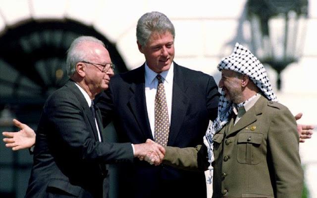 Acordo de paz entre judeus e palestino, Clinton, Rabin, Arafat