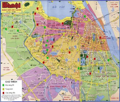 Plan des rues de la ville de Hanoi (Vietnam)