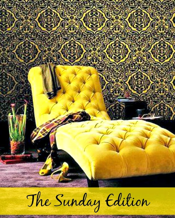 yellow and black wall paper lounge chair