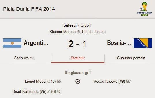 Hasil Pertandingan Argentina VS Bosnia Piala Dunia 2014