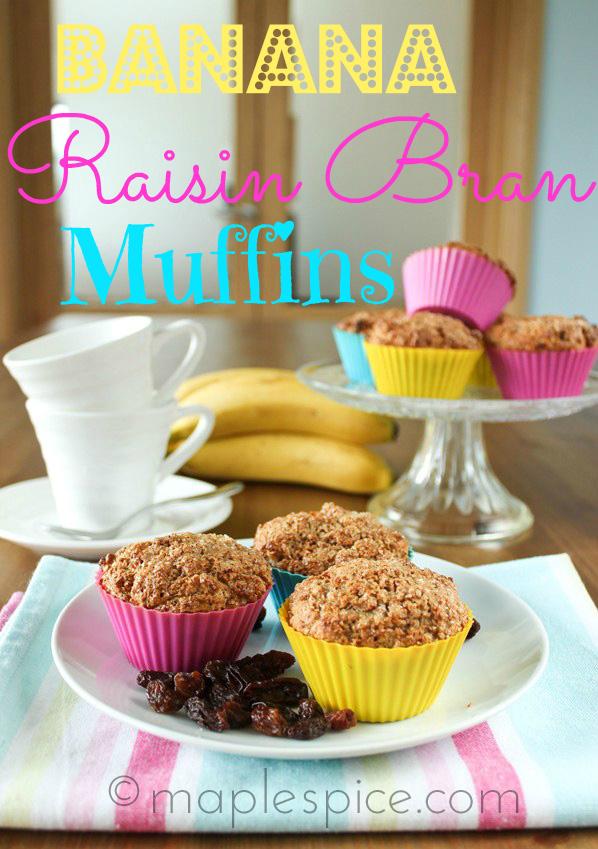 Vegan Banana Raisin Bran Muffins.