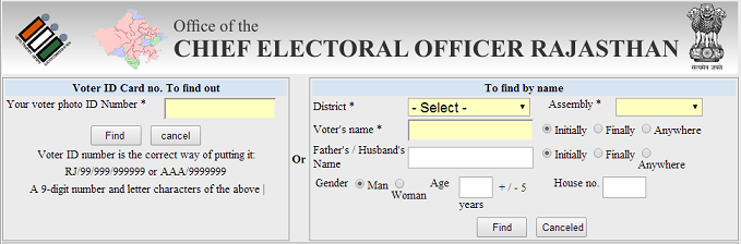 CEO Rajasthan Search Voter ID