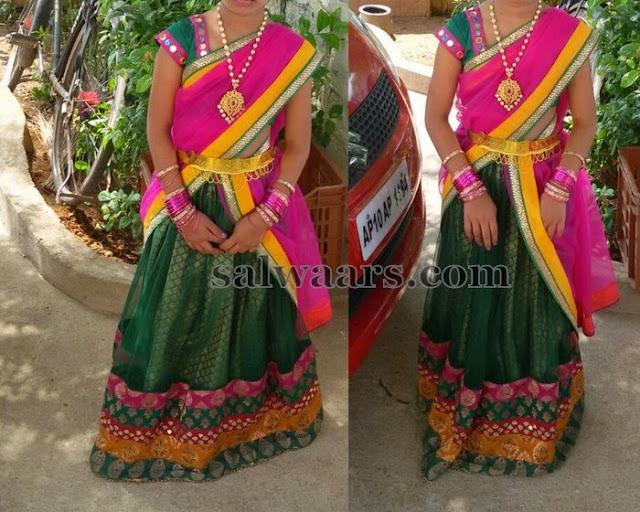 Baby in Green Net Half Saree