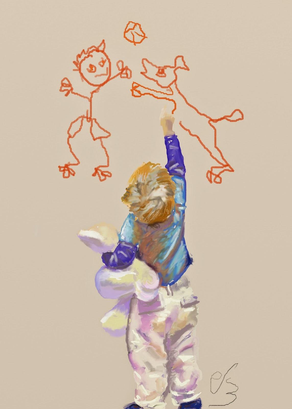 Niño de espaldas dibujando garabatos