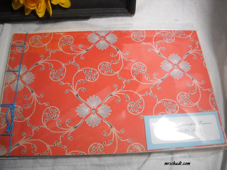 Oriental Orange Wedding Guest Book Album Congrats Kristin and Christopher