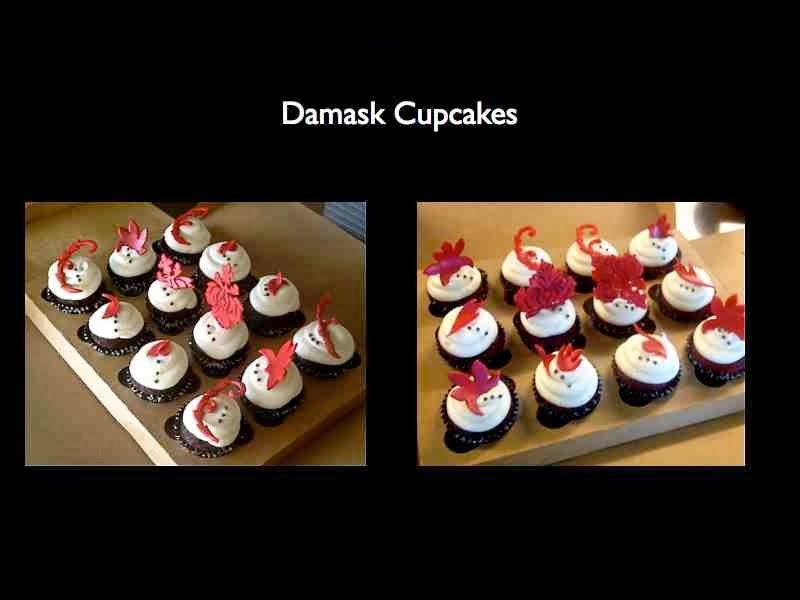 damask bridal shower cupcakes