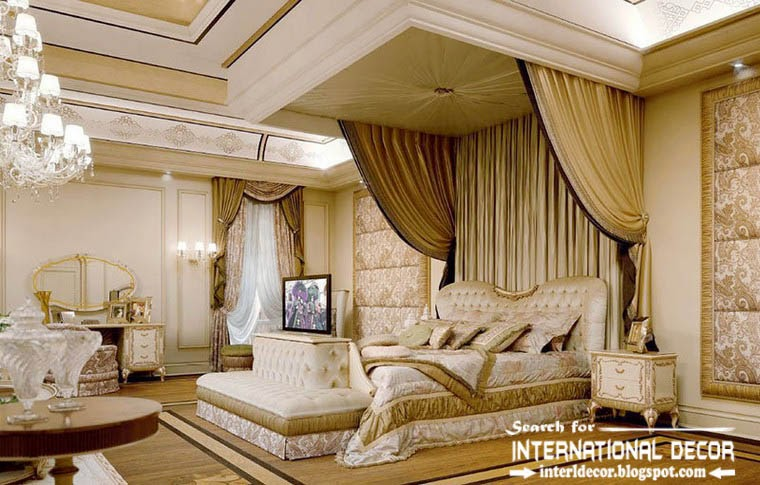 luxury classic bedroom interior decor furniture four poster bed and