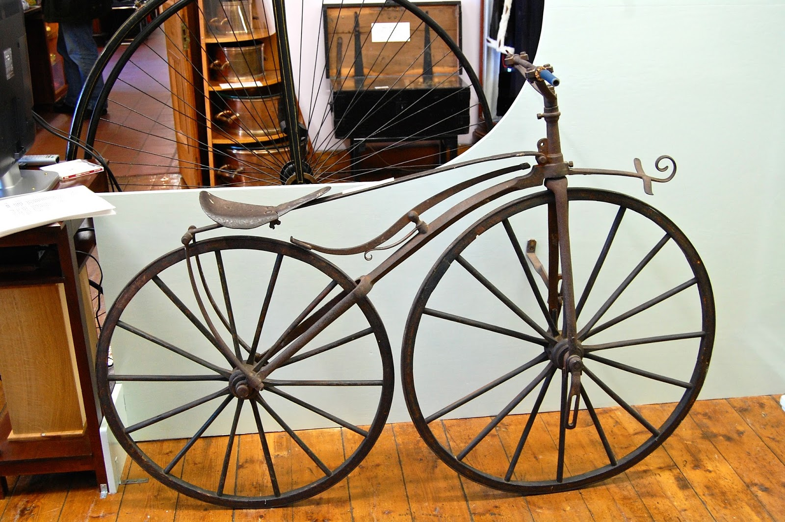 "An early bicycle, the ""bone shaker,"" at Bute Museum"