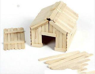 ide kreatif cara membuat kerajinan Miniatur rumah dari stik es krim