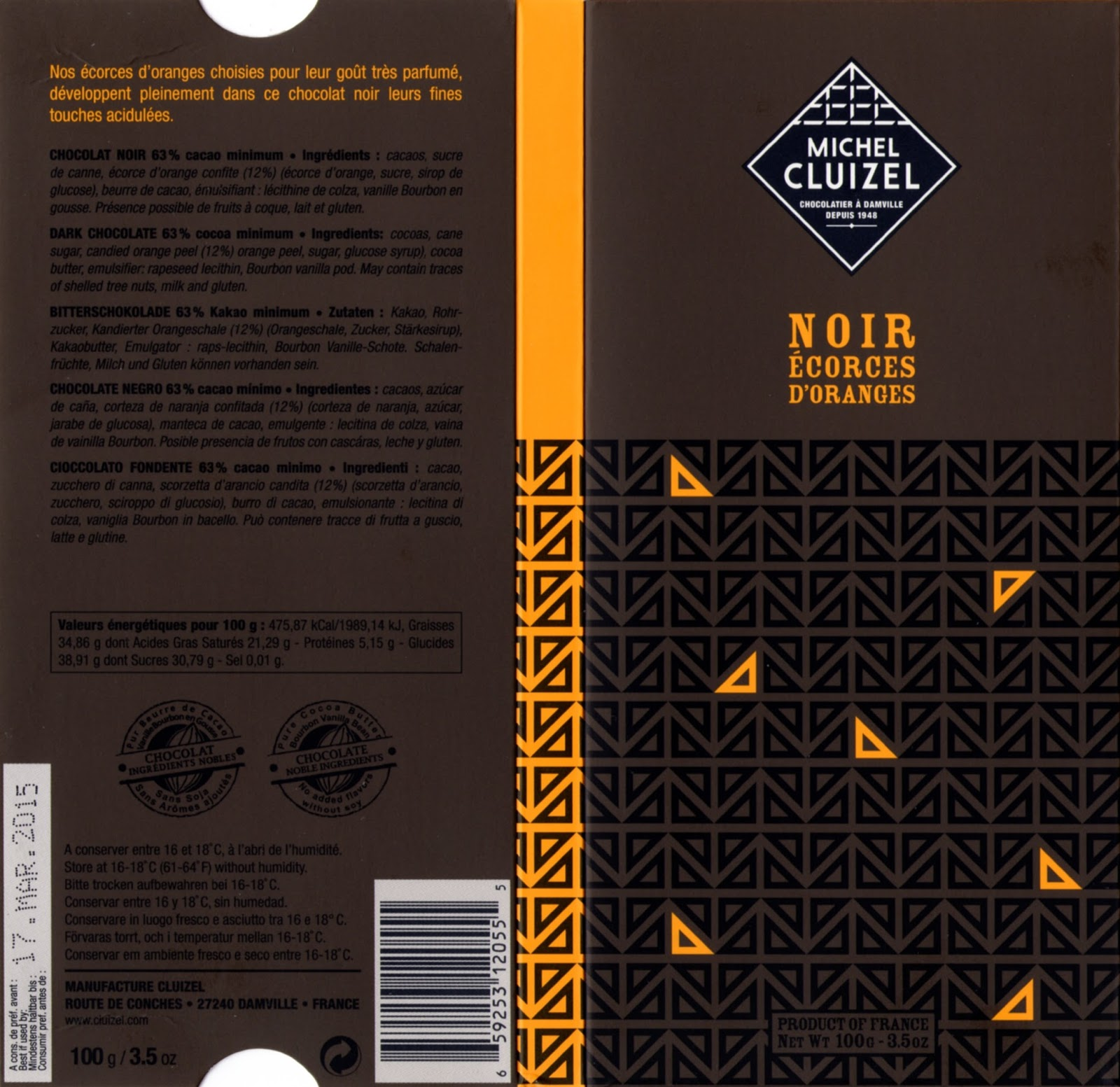 tablette de chocolat noir gourmand michel cluizel noir ecorces d'oranges