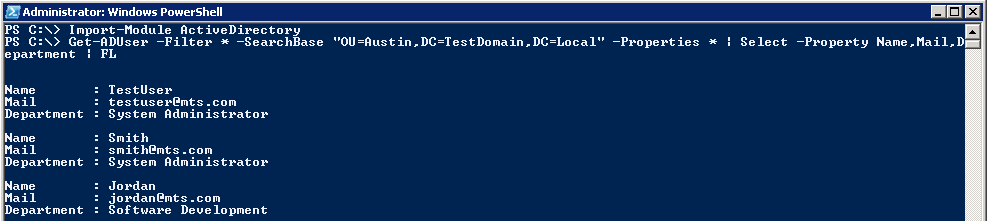 AD PowerShell: Get-ADUser - Select users from specific OU