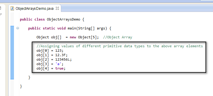 Assigning values to an array