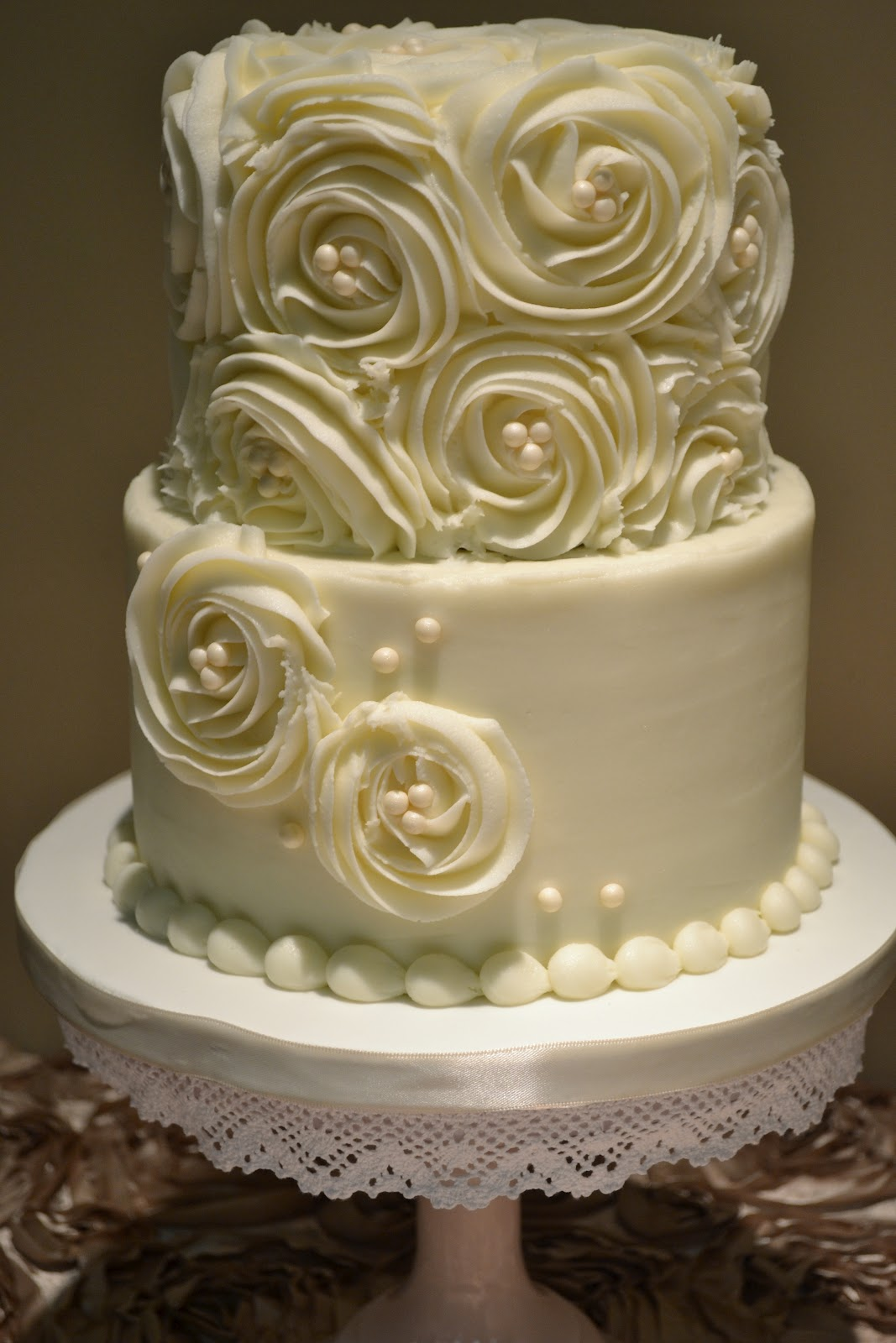 Sweet Cakes by Rebecca Rosettes and Pearls Wedding Cake