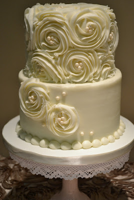 Sweet Cakes by Rebecca - buttercream wedding cake with rosettes and pearls