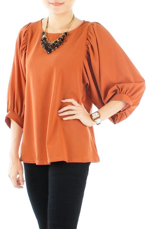 Tangerine Blushful Drape ¾ Sleeve Blouse